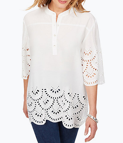 Foxcroft Bailey 3/4 Sleeve Scallop Detailed Tunic
