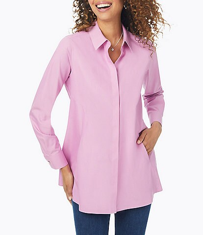 Foxcroft Cici Solid Non-Iron Pinpoint Oxford Long Sleeve Point Collar Button Front Tunic