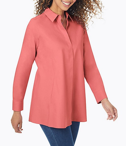 Foxcroft Cici Solid Non-Iron Pinpoint Oxford Long Sleeve Point Collar Button-Front Tunic