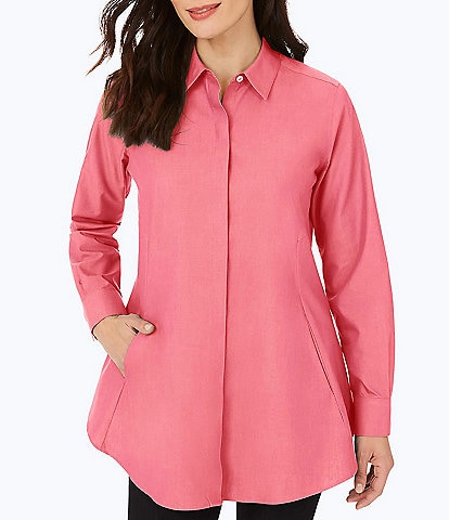 Foxcroft Cici Solid Non-Iron Pinpoint Oxford Long Sleeve Button Front Tunic