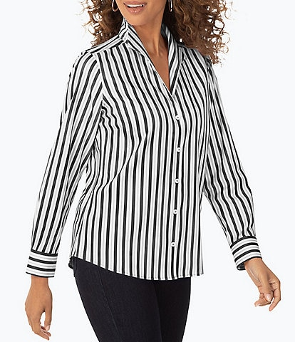 Foxcroft Cisley Long Sleeve Stripe Stretch Non-Iron Fitted Button Front Blouse