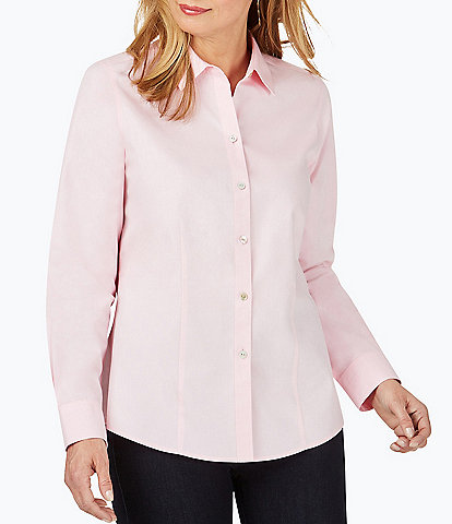 Foxcroft Dianna Long Sleeve Non-Iron Pinpoint Oxford Seamed Button Front Blouse