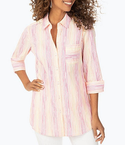 Foxcroft Germaine 3/4 Sleeve Ombre Stripe Shaped Front Pocket Tunic