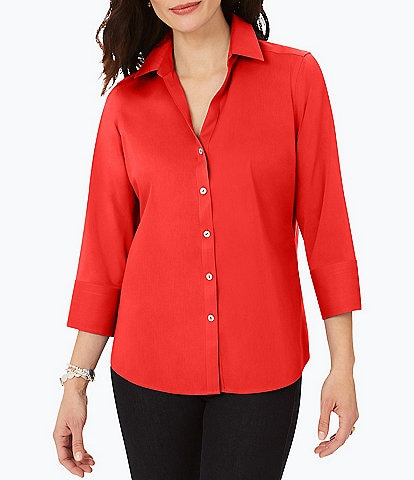 Foxcroft Mary 3/4 Sleeve Non-Iron Stretch Button Front Blouse