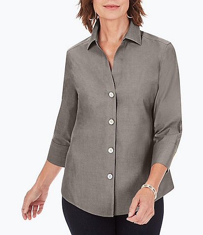 Foxcroft Paityn Solid Pinpoint Oxford Non-Iron Shaped Button Front Shirt