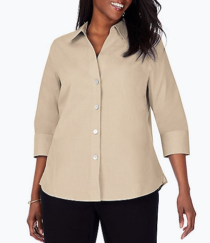 Foxcroft Plus Size Point Collar Neck 3/4 Sleeve Paityn Solid Shirt