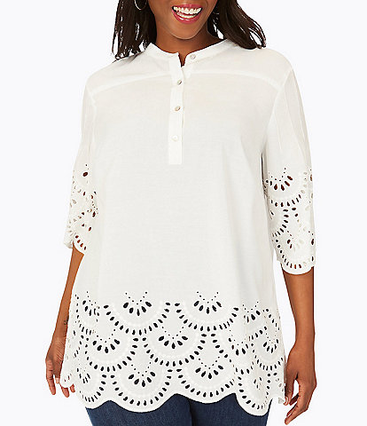 Foxcroft Plus Size Bailey 3/4 Sleeve Scalloped Hem Top