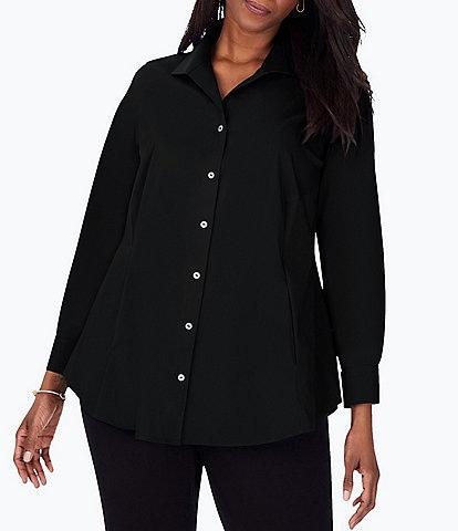 Foxcroft Plus Size Cecila Long Sleeve Wing Collar Non-Iron Stretch Tunic