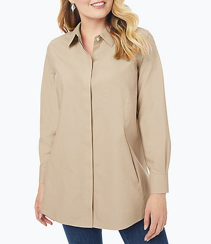 Foxcroft Plus Size Cici Solid Non-Iron Pinpoint Oxford Long Sleeve Point Collar Button Front Tunic