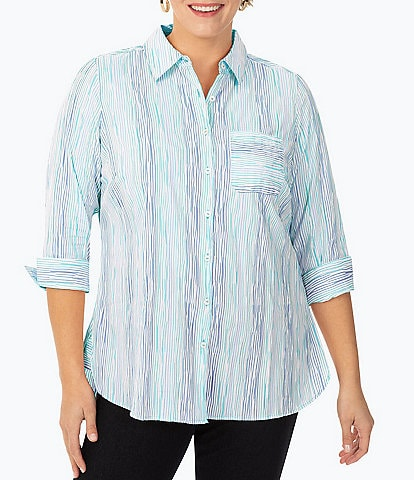 Foxcroft Plus Size Germaine 3/4 Sleeve Ombre Crinkle Stripe Button Front Tunic