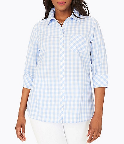 Foxcroft Plus Size Gingham Button Front 3/4 Sleeve Shirt