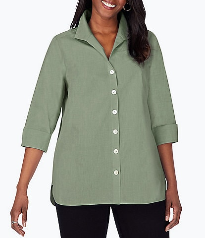 Foxcroft Plus Size Pandora 3/4 Sleeve Spread Point Collar Neck Button Front Shaped Tunic