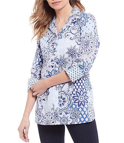 Foxcroft Poppy Paisley Wrinkle Free 3/4 Sleeve Cotton Sateen Tunic