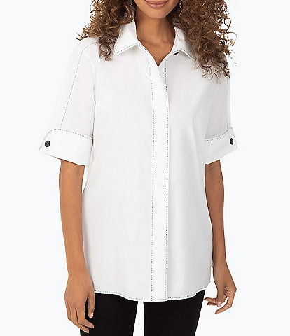 Foxcroft Stretch Solid Elbow Sleeve Point Collar Tunic