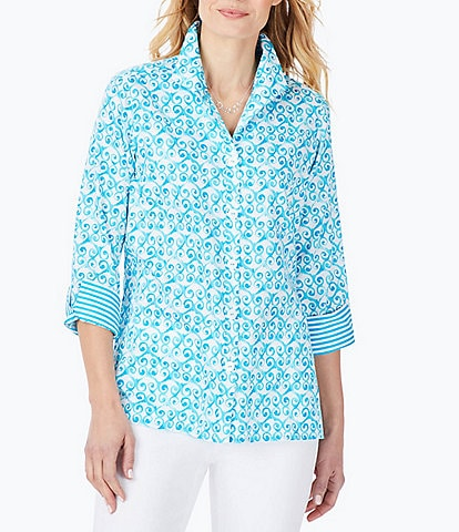 Foxcroft Watercolor Trellis Roll Tab Sleeve Wing Collar Button Front Shirt