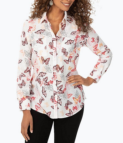 Foxcroft Zoey Butterfly Print Long Sleeve Shirt