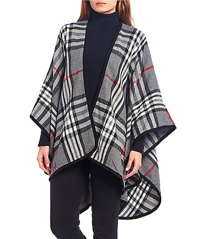Fraas Women's Rounded Woven Plaid Ruana