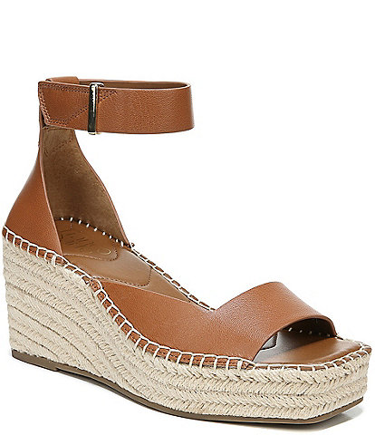 Franco Sarto Camera Leather Ankle Strap Espadrille Wedge Sandals