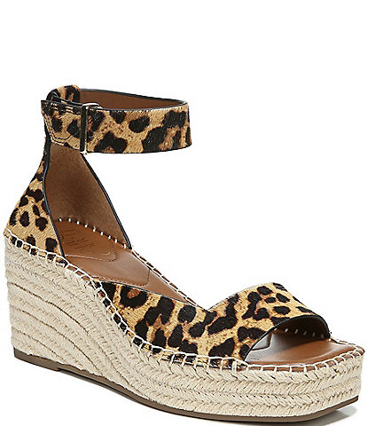 Franco Sarto Camera Leopard Print Calf Hair Espadrille Sandals