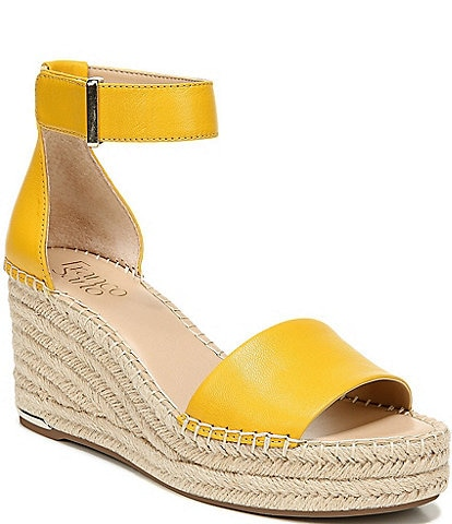 Franco Sarto Clemens Leather Wedge Espadrille Sandals