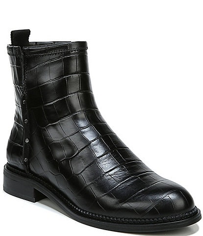 Franco Sarto Hixton Croc Embossed Leather Block Heel Booties