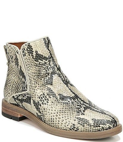 Franco Sarto Marcus Snake Print Leather Block Heel Booties