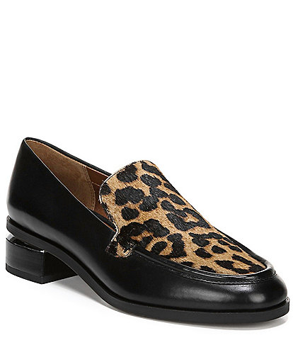 Franco Sarto New Bocca Leopard Print Calf Hair Block Heel Loafers