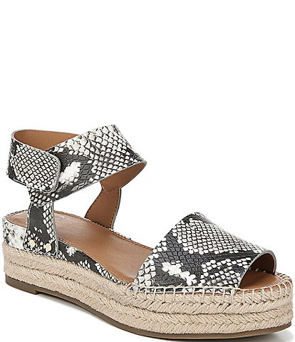 Franco Sarto Oak Snake Print Leather Espadrille Wedges