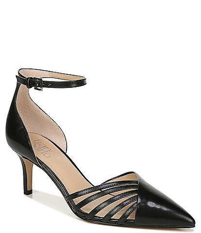 Franco Sarto Talana Leather Ankle Strap d'Orsay Cut Out Pointed Toe Pumps