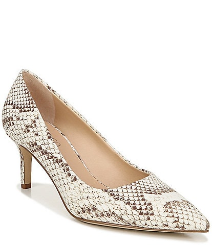 Franco Sarto Tudor Canvas Python Snake Print Pointed Toe Pumps