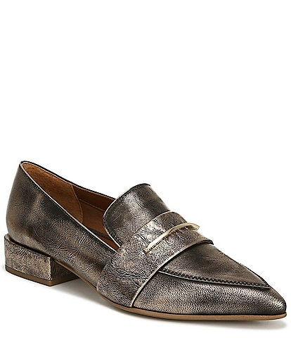 Franco Sarto Wynne Metallic Leather Block Heel Dress Loafers