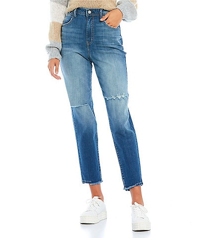 Frayed Distressed Tapered High-Rise Cropped Boyfriend Jeans