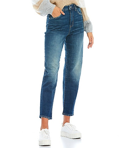 Frayed High-Rise Tapered Cropped Boyfriend Jeans