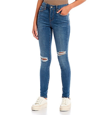 Frayed High Rise Destructed Skinny Jeans
