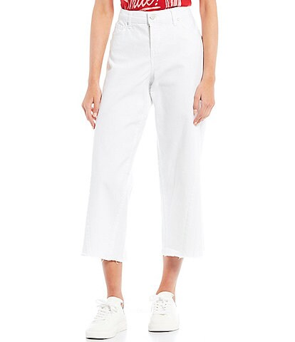 Frayed High-Rise Front Seam Cropped Jeans