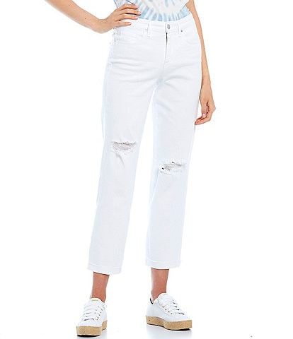 Frayed High Rise Destructed Straight Leg Jeans