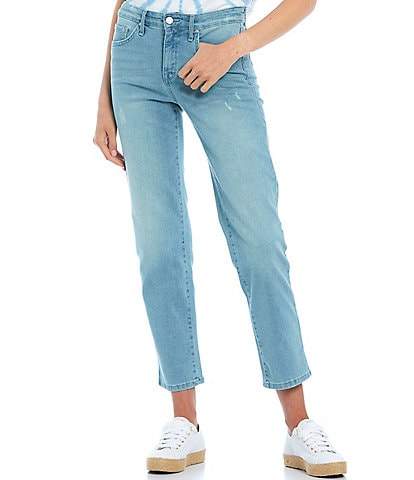 Frayed High Rise Straight Leg Jeans