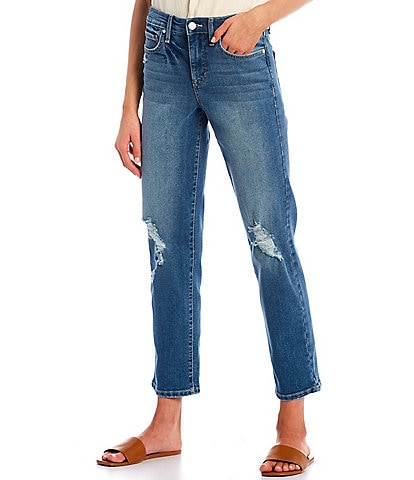 Frayed High-Rise Straight Wide Leg 28#double; Inseam Crop Jeans