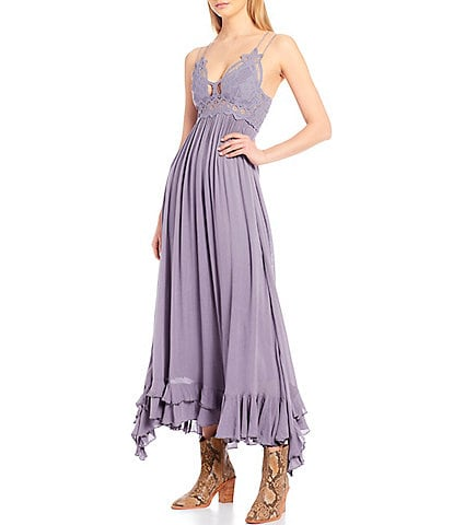Free People Adella Crochet Detail Cotton Blend Smocked Back Slip Midi Dress