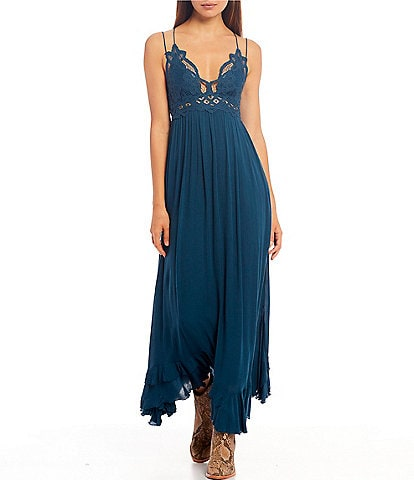Free People Adella Crochet Detail Cotton Blend Maxi Smocked Back Slip Dress