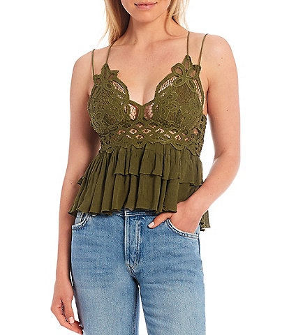 Free People Adella Lace Detail Smock Back Cotton Blend Cami