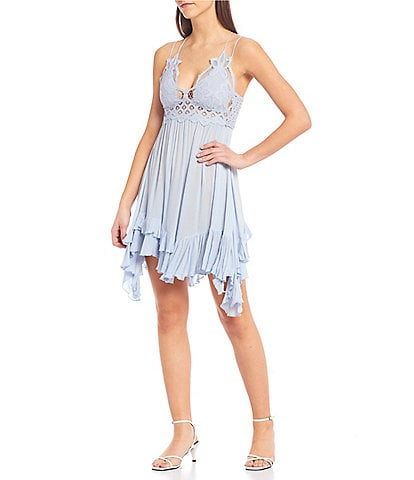 Free People Adella Lace Slip Ruffle Tiered Asymmetrical Hem Spaghetti Strap Flounce Mini Dress