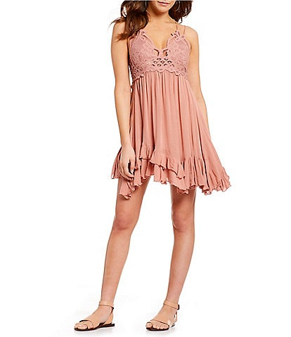Free People Adella Lace Slip Ruffle Tiered Asymetric Hem Spaghetti Strap Flounce Mini Dress