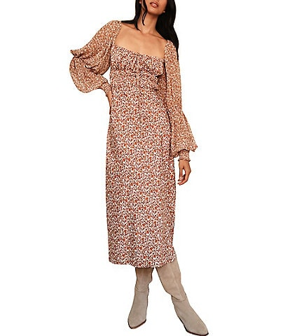 Free People Aglow Floral Print Square Neck Long Balloon Sleeve Cutout Back Midi Dress