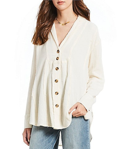 Free People All About the Feels Button Down Woven Top