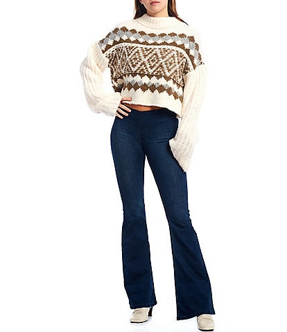 Free People Alpine Printed Long Sleeve Slouchy Cropped Sweater