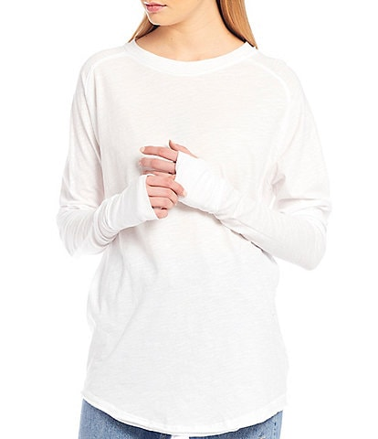 Free People Arden Long Sleeve Thumb Hole Round Hem Tunic Tee
