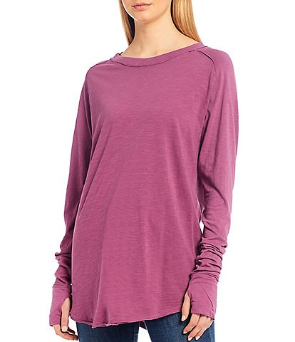 Free People Arden Long Sleeve Thumb Hole Round Hem Tee