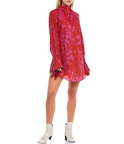 Free People Aries Floral Print High Neck Open Back Detail Mini Dress