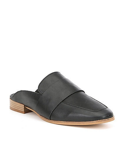 Free People At Ease Leather Stacked Block Heel Dress Mules